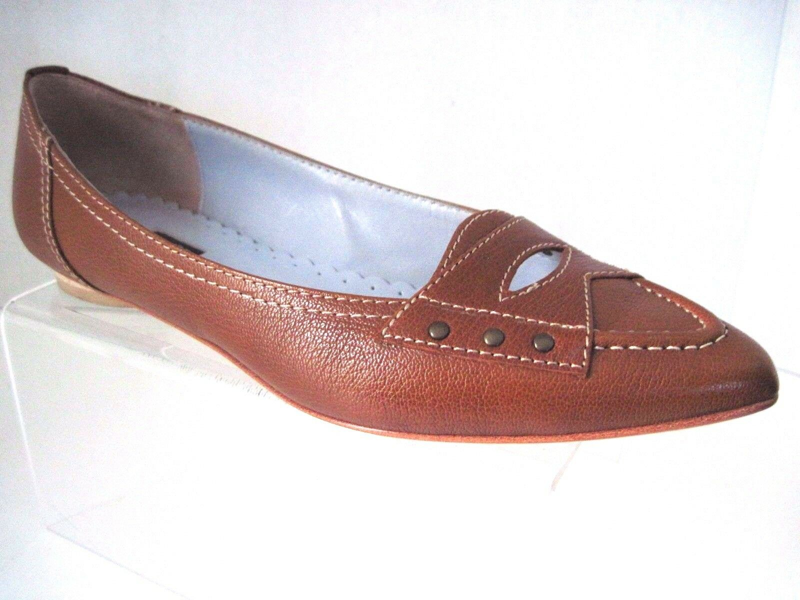 RAFE New York Brown Leather Cut Out Flat Loafer Size 37 1 2