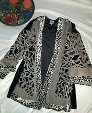 Easywear by Chico's Size 2 Leopard Black Velvet Kimono draped cardigan Large Top