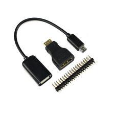 Raspberry Pi Zero Mini-HDMI Male to HDMI Female + Micro USB to USB  + Male GPIO