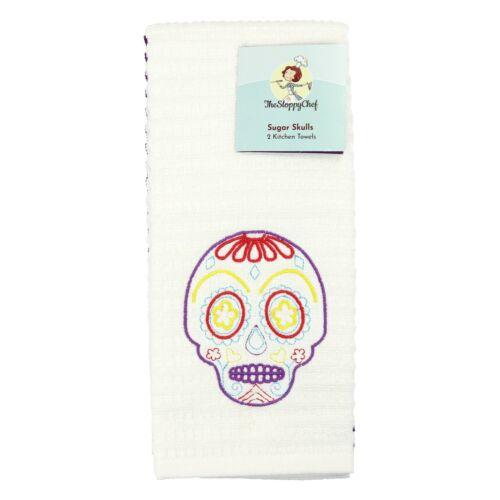 16 x 26 Cotton Towels Embroidered Sugar Skull Design Set of 2 Kitchen Towels