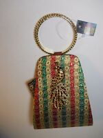 Yuva By Neerus Peacock Purse Clutch Mobile Bag Red White Rhinestones Gold Green