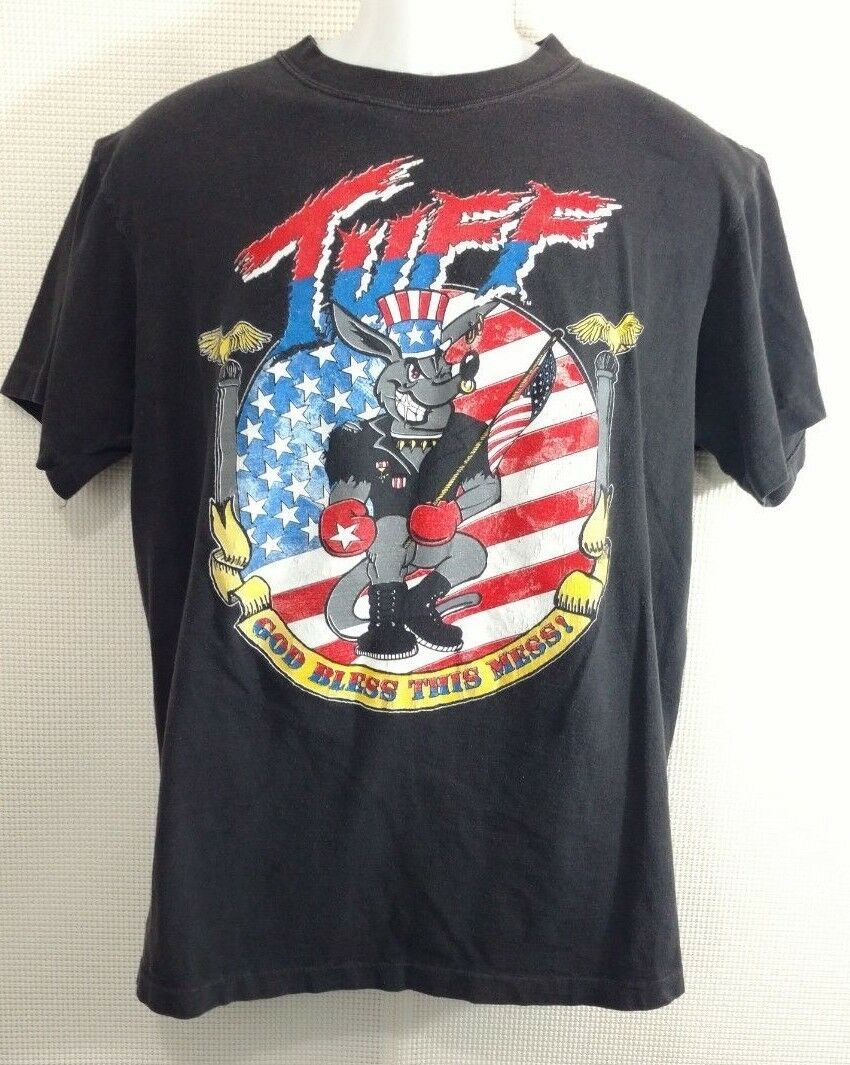 Tuff God Bless This Mess Tour T-Shirt Size XL Vintage 1991 Concert Flag Rare