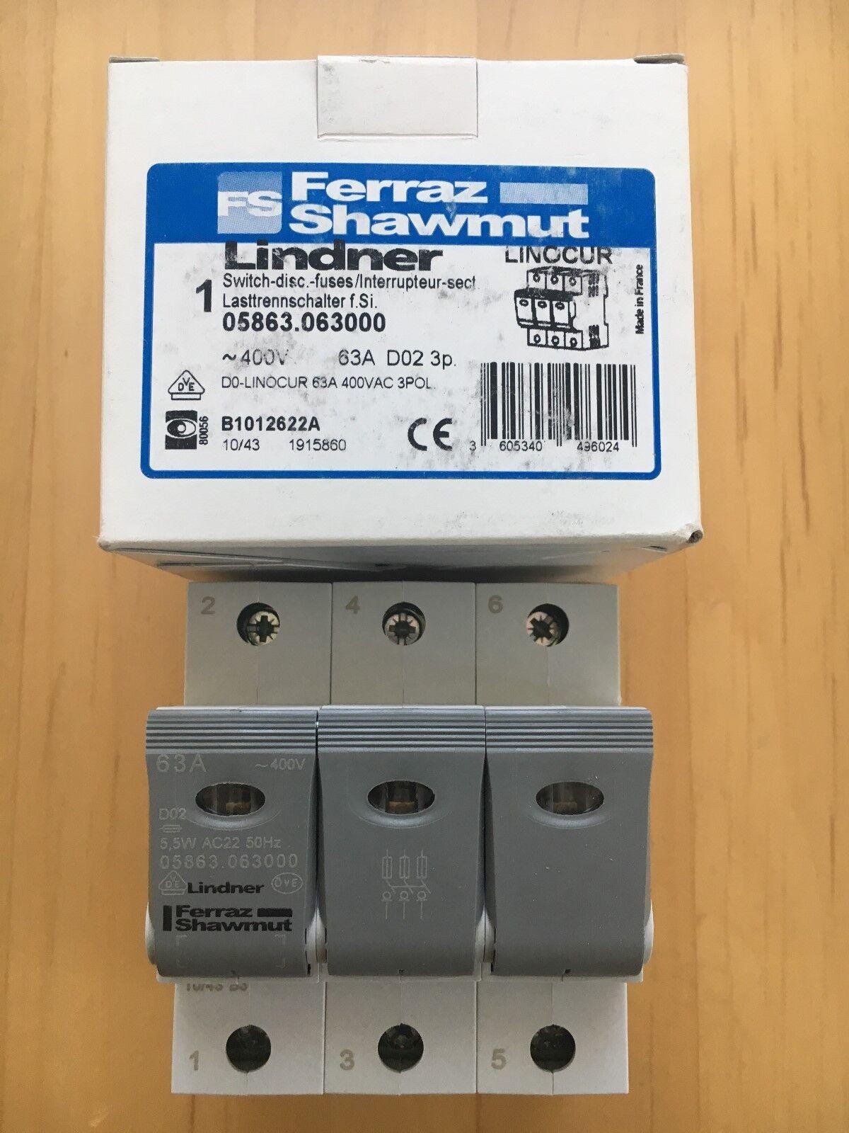 LindnerFerraz Shawmut Lasttrennschalter 3 Polig Linocur D02 63ANeu & OVP  | Schön