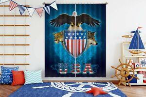 3D-USA-Trinity-Eagle-Wolf-R791-Window-Photo-Curtain-Printing-Fabric-Vincent-Amy