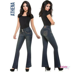 3fb777ea3bc Colombian Push Up Stretch Jeans Fajate Butt Lifter Denim Pocket High ...