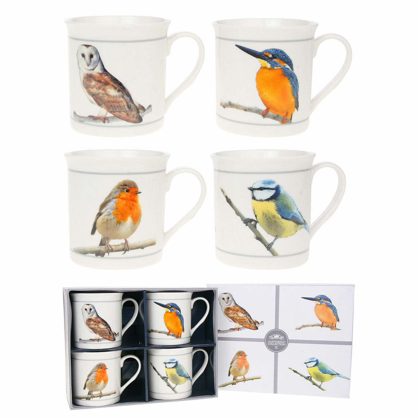 British Birds Set of 4 Fine China Mugs