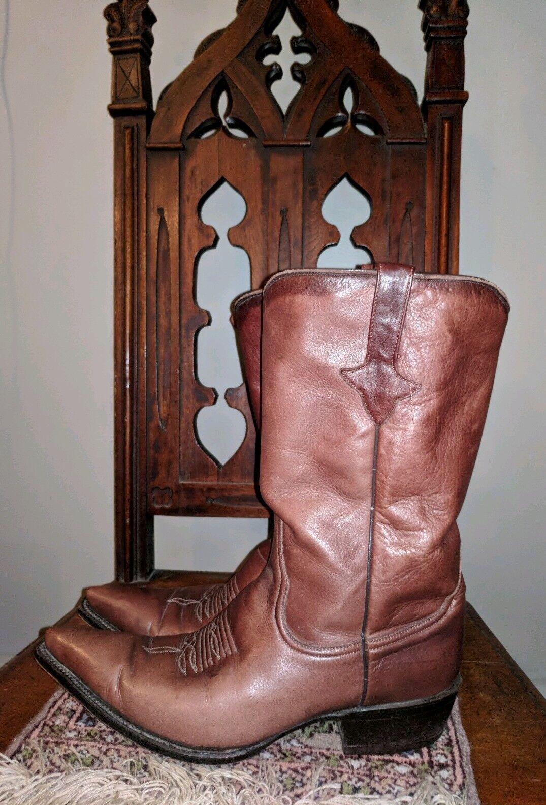 Vintage Zodiac señaló SNIP Toe Western Cowboy botas de cuero marrón cacao 9.5 M