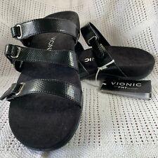 f9e0f7a252b6 BNWT Vionic Aubrey Slide Sandals Orthaheel Black Snake UK 6 (EUR 39) Wide