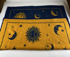 Biederlack-52-X-46-Throw-Moon-Sun-Blue-Yellow-Reversible-Blanket-Plush-Celestial