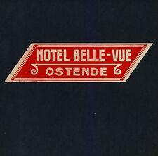 Hotel Belle-Vue OSTENDE Belgique Belgium * Old Luggage Label Kofferaufkleber