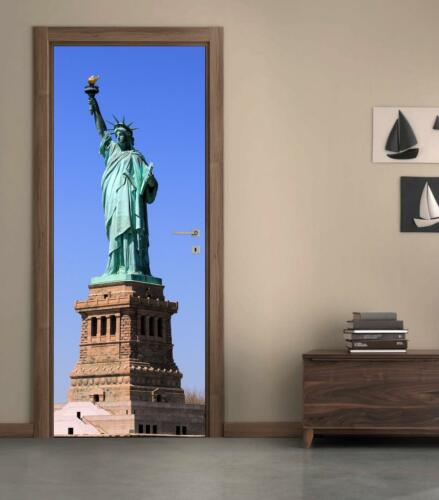 New York Statue Of Liberty DOOR WRAP Decal Wall Sticker Personalized NAME D99