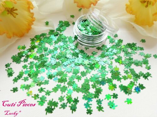 3D Nail Art *Lucky* Green Four Leaf Clover Piece Holographic Spangle Glitter Pot