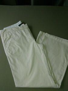 Anthropologie-Cartonnier-Women-039-s-Pants-Size-12-Ivory-Stretch-Wide-Cotton-Spandex