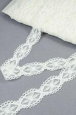 25mm OffWHITE Vintage ELASTIC Lace Trim Bridal Wedding Ribbon CRAFT Daisy Rustic