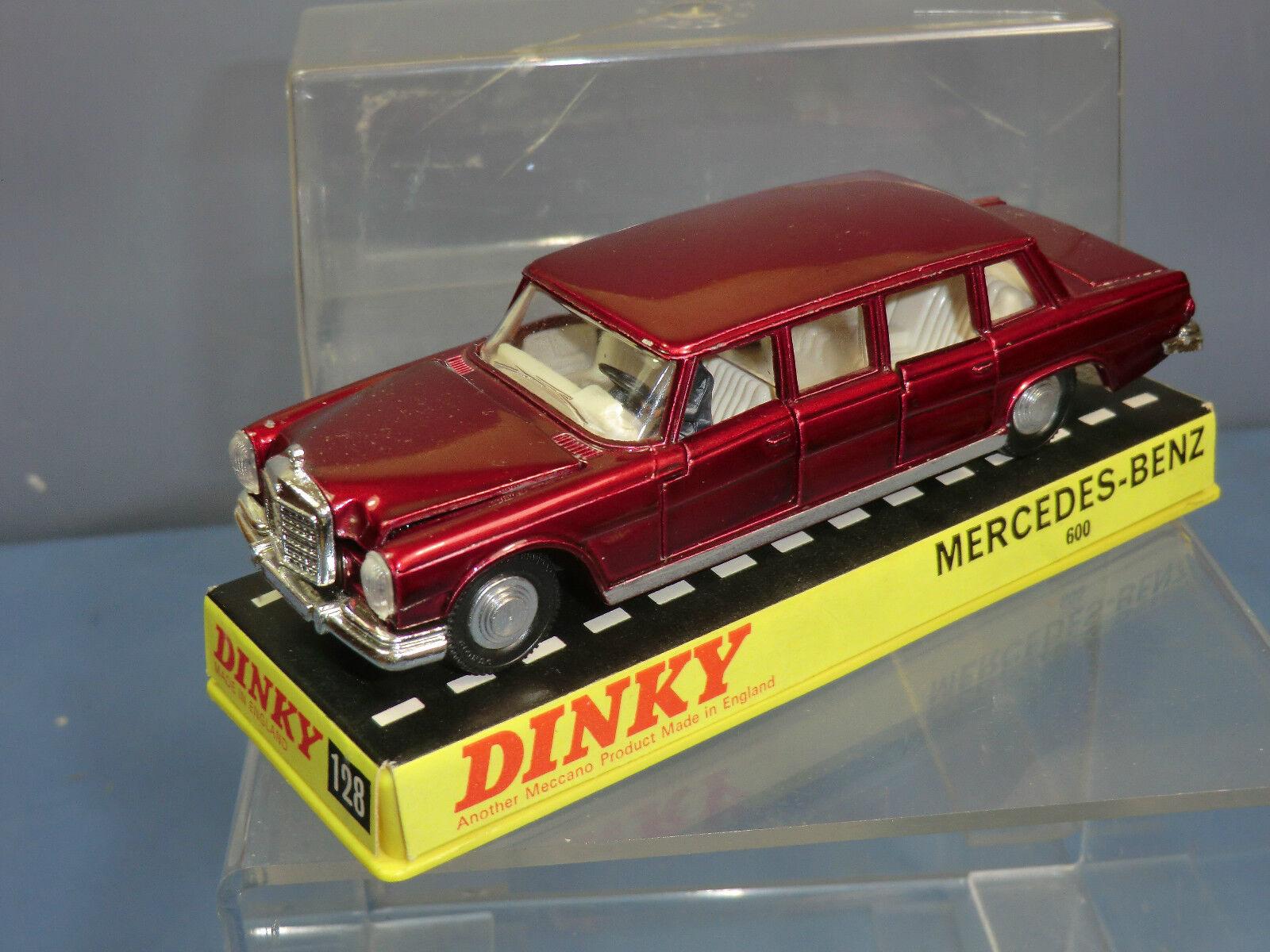 DINKY  TOYS modèle No.128 Mercedes-Benz 600 Pullhomme Limousine (Met. rouge) En parfait état, dans sa boîte  les ventes chaudes