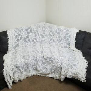 Vintage Hand Crochet Blanket White Fringe Afghan Bedspread Coverlet Queen King