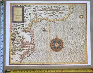 Antique Vintage Old Map 1500s Virginia Northeast Coast America