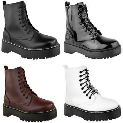 Womens Ladies Chunky Platform Ankle Lace Up Boots Punk Zip Icon Retro