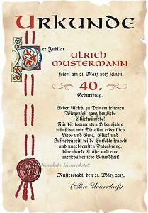 Das Bild Wird Geladen Urkunde 40 Geburtstag DIN A3 G1