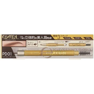 Excel Powder & Pencil Eyebrow EX PD01 Natural Brown Made in Japan