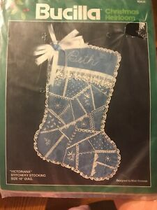 Bucilla-Christmas-Heirloom-Victoriana-Stitchery-18-Inch-Stocking-Kit-Embroidery