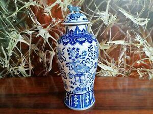 Antiguo-Chino-Porcelana-Florero-de-Tapa-31cm-con-Floral-Decoracion-en-Azul