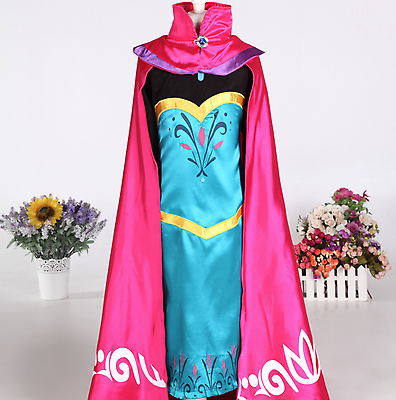 Costumes, Reenactment, Theater Modest Girls Frozen Elsa Coronation Snow Queen Princess Costume Party Dress And Cape