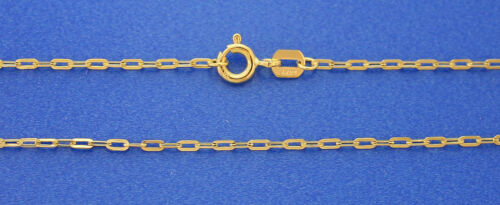 14K Solide Or Jaune 1.4 mm Open allongé Diamond Cut Link Chain 24 2 G
