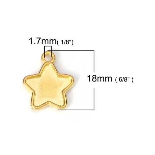 2534 10 lünetten version pendentif or étoile 15x18mm Resin Tasse CHARMS