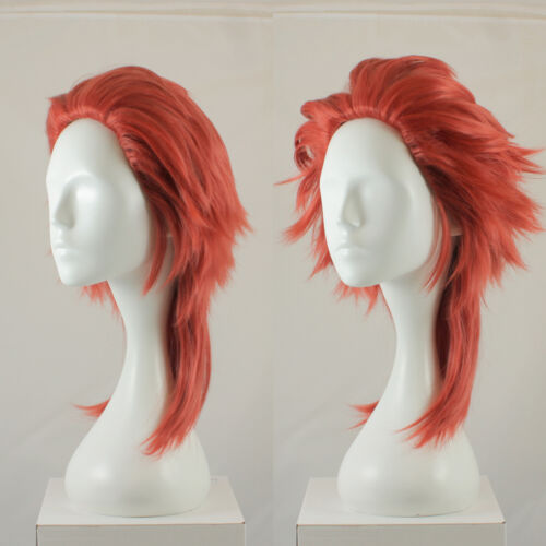 Saiyan style Long fluffy spikey cosplay costume wig in muted red UK SELLER