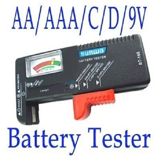1 x battery tester AA AAA 1.5V 9V C D button cell coin rechargeable batteries