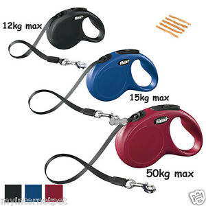 Flexi-Tape-Classic-Dog-Lead-Retractable-3m-or-5m-XS-Small-Medium-Large-CHEWS