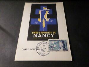 FRANCE-1955-CM-CARTE-MAXIMUM-FDC-1-JOUR-FOIRE-NANCY-timbre-LE-BON-CELEBRITE-039