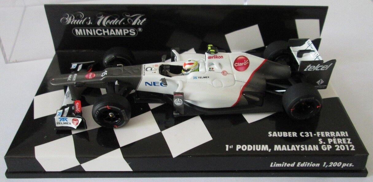 F1 1 43 SAUBER C31 FERRARI PEREZ 1ST PODIUM MALAYSIAN GP 2012 MINICHAMPS
