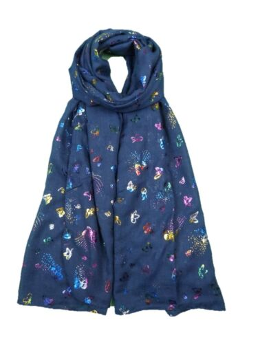 NEW DESIGN WOMEN GOLD SILVER GLITTER BUTTERFLY SCARVES SHAWL WRAP LADIES