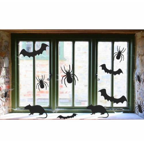 30 X Halloween Spooky Chauves-souris Araignées Rats Silhouette de Fenêtre Découpé Décoration