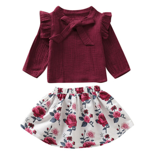 Baby Toddler Girl Outfits Clothes Suit Long Sleeve Ruffle Shirt Top+Floral Skirt