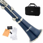 MENDINI BLUE ABS Bb CLARINET W/ CASE,CARE KIT,11 REEDS FOR STUDENT, BEGINNER