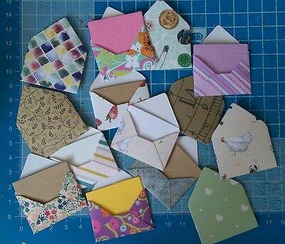 Set of 10 mini envelopes 3x4cm - pot luck mix - WITH INSERTS