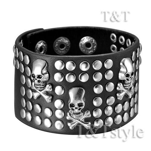 T/&T Punk Skull Stud Black Leather Bracelet Wristband PK17