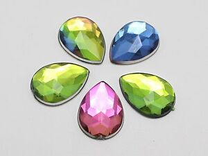 100 x  Mixed Tear Drop Faceted Beads  Rhinestones Gems Flat Back Sew On #15