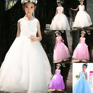 Kids-Baby-Girls-Party-Bridesmaid-Princess-Prom-Wedding-Flower-Dress-Aged-18M-15Y