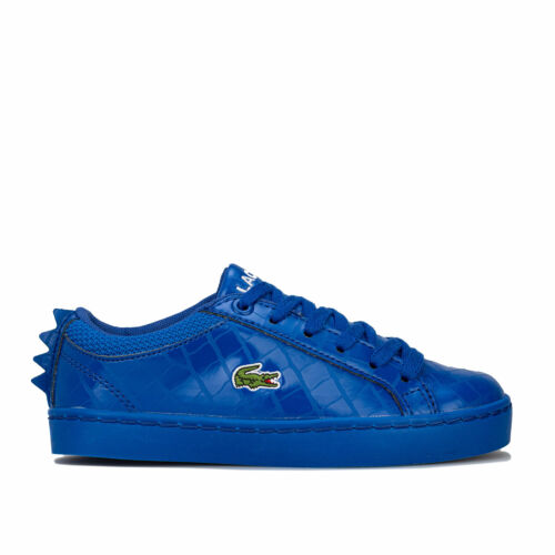 Lace Fastening Padded Children Boys Lacoste Straightset 4 Trainers In Blue
