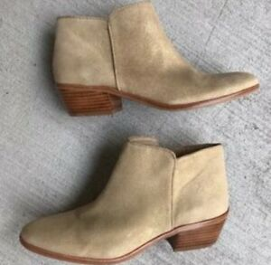 9961f6b3ebf1 New Women s Sam Edelman Petty Ankle Boots Beige Gold Putty Suede ...