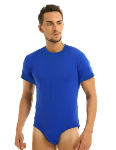 Herren Body Einteiler Overall Kurzarm T-Shirt Slim Fit Muskel Shirt Unterhemd