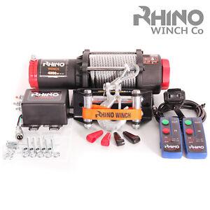 Treuil-electriques-12v-noir-Recuperation-4x4-Bateau-4500lb-2041kg-Winch-RHINO