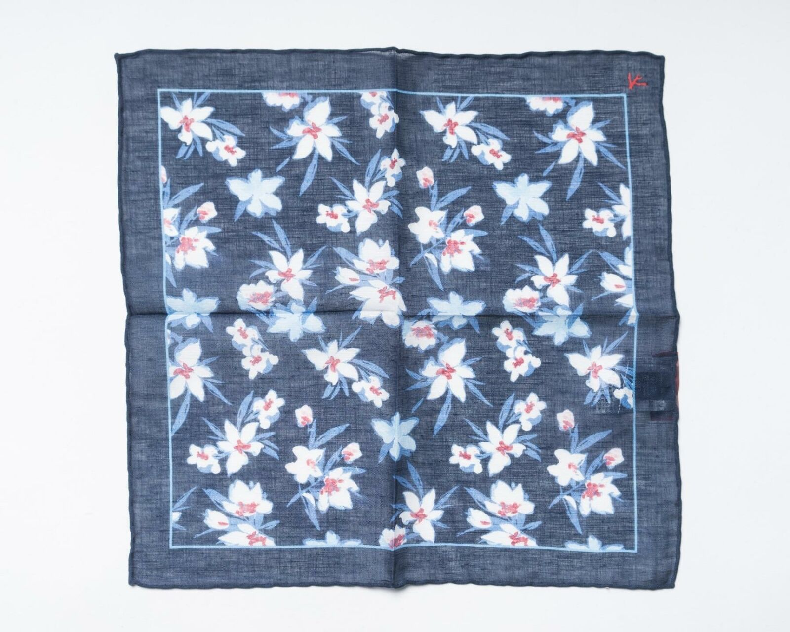 """Isaia NWT Navy Blue Red Floral Linen Cotton Blend Pocket Square 12.5"""" 33 cm"""