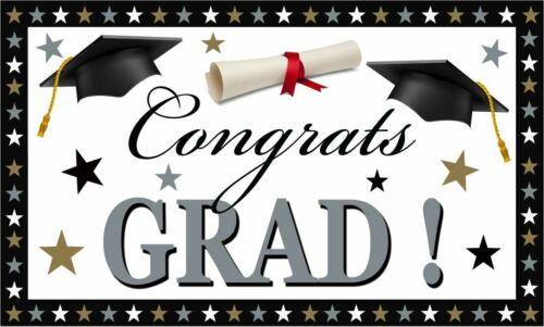 Large Graduation Party Banner Grad Decoration Silver Gold Plastic Outdoor Indoor