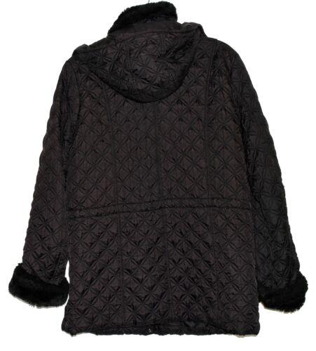 Quilted Faux Størrelse Sort Fur York L Andrew Hætte Kvinderjakke New Marc Aftagelig vWnxYXI