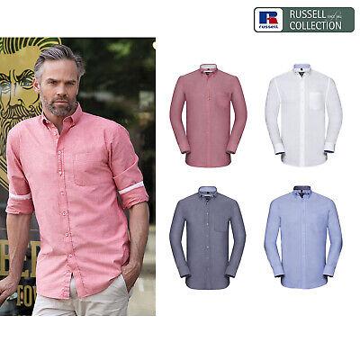 Russell Collection Manica Lunga Camicia Oxford Lavato Su Misura (r-920m-0) - Workwear-kwear It-it Mostra Il Titolo Originale